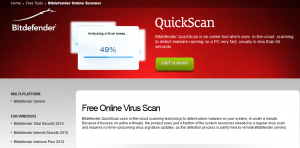 Bitdefender scanner page