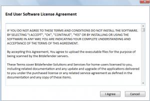 EULA for Bitdefender online scanner