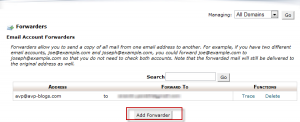 Adding Forwarder from CPanel
