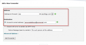 Adding am email address to whicb emails will be forwarded