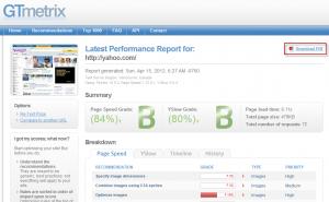Gtmetrix results page
