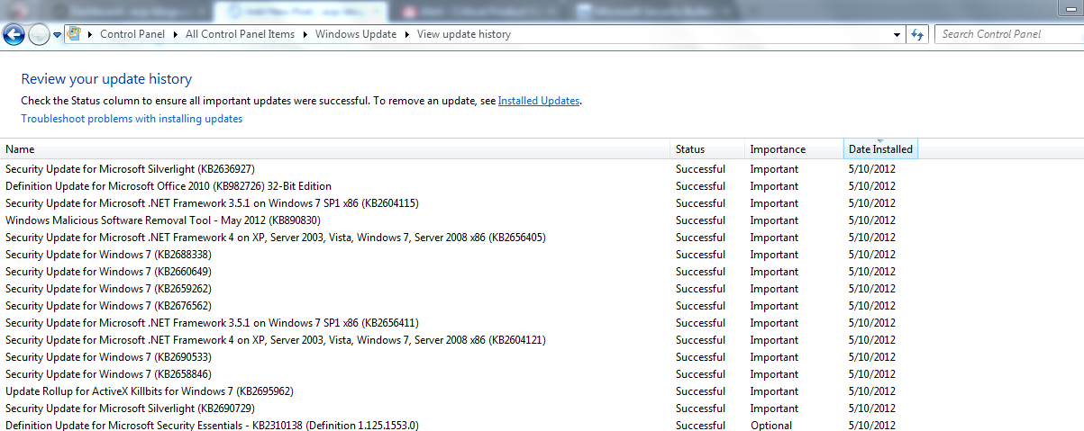 May 2012 updates for a Windows 7 system